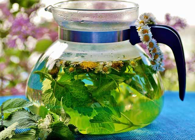 Foto de una jarra de infusión herbal