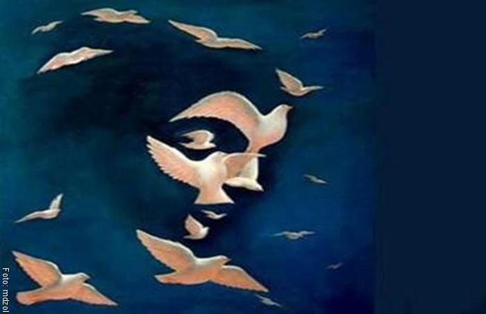 Imagen del test visual para ver un rostro de mujer o las palomas volando