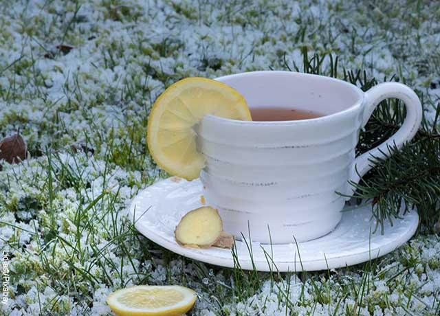 Foto de una taza de té con limón