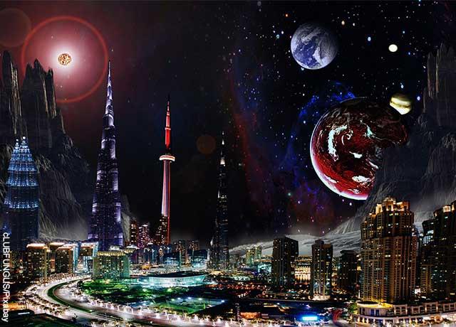 Foto de una ciudad con planetas en el cielo