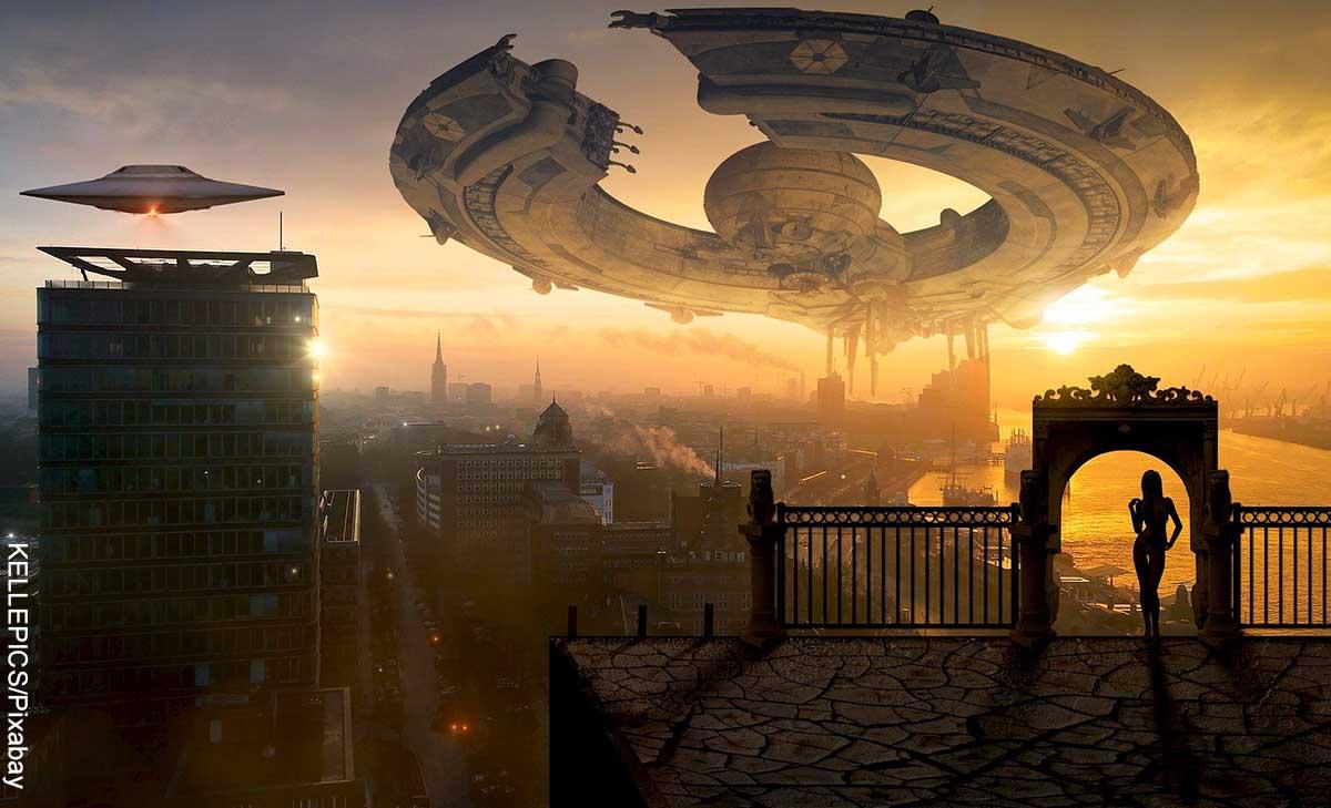 Foto de ovnis sobre una ciudad que revela las mejores películas de ciencia ficción