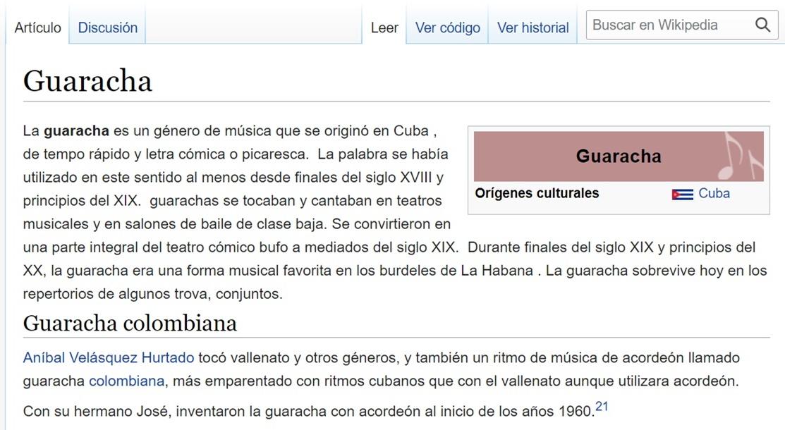 Screenshot del significado de Guaracha según Wikipedia