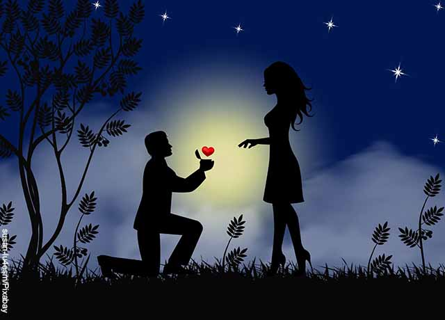 Ilustración de un hombre arrodillado entregándole un corazón a una mujer