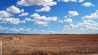 Foto del cielo y tierra de sembrado que muestra lo que es soñar con tierra