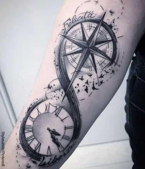 Foto de un brazo con tatuaje de brújulas