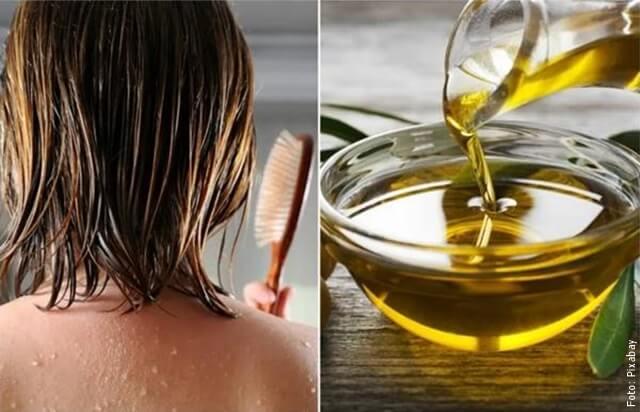 foto de aceite de oliva y cabello