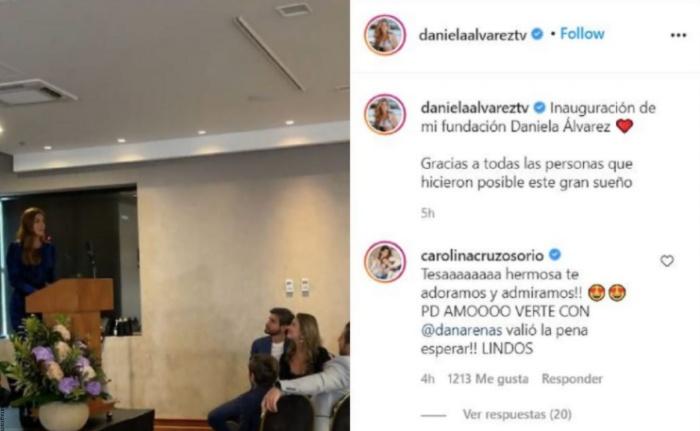 Foto del mensaje de Carolina Cruz a Daniella Álvarez