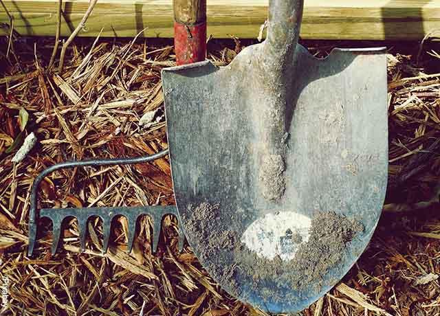 Foto de una pala y rastrillo que revela cómo hacer abono orgánico