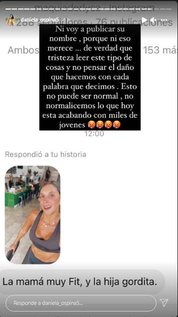 La respuesta de Daniela Ospina a mujer que llamó 'gordita' a su hija
