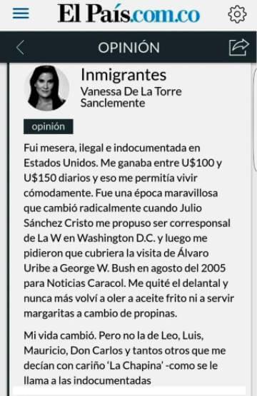 Print de columna de Vanessa de la Torre en El País