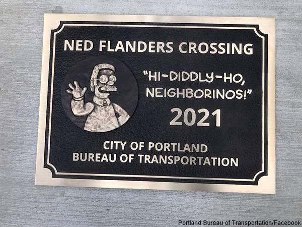 Foto de placa conmemorativa de Ned Flanders