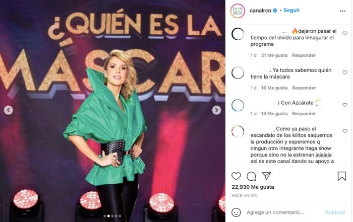 Foto de comentarios a Alejandra Azcárate por reality ¿Quién es la máscara?