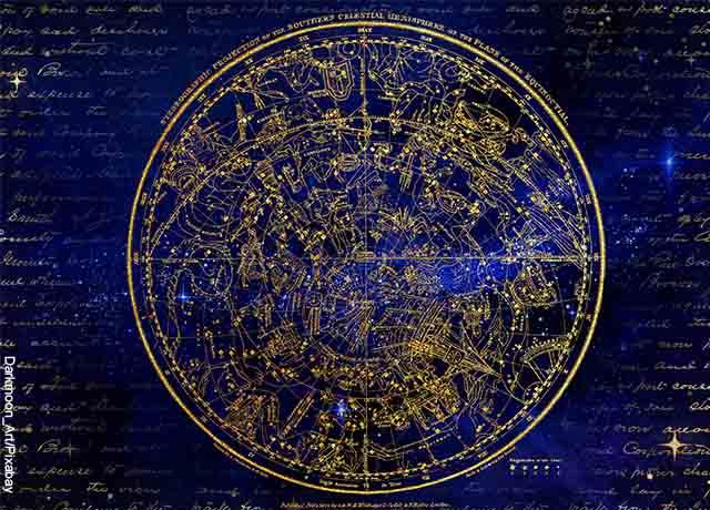 Foto de un mapa celeste