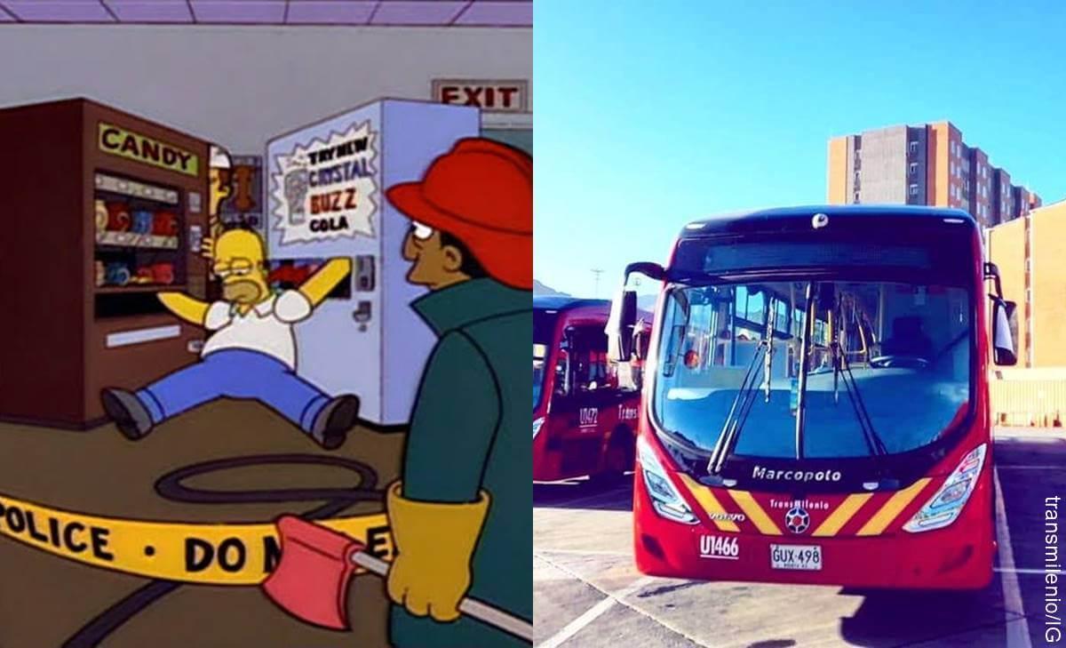 Comparan a hombre que se atascó en Transmilenio con Homero Simpson