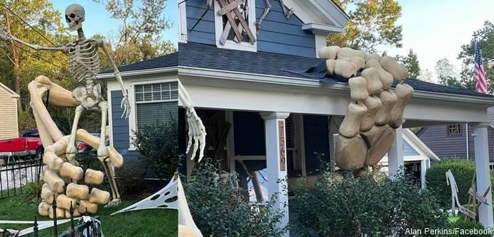 Foto de casa adornada para Halloween