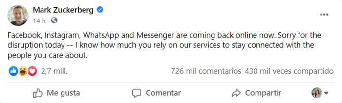 Post de Mark Zuckerberg