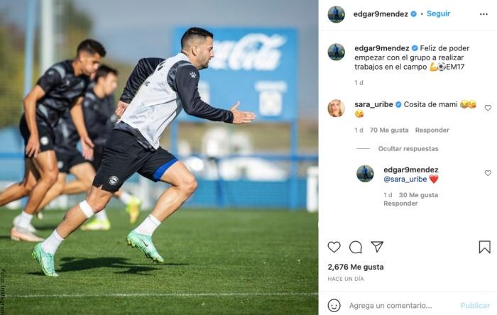 Foto de mensaje de Sara Uribe a futbolista